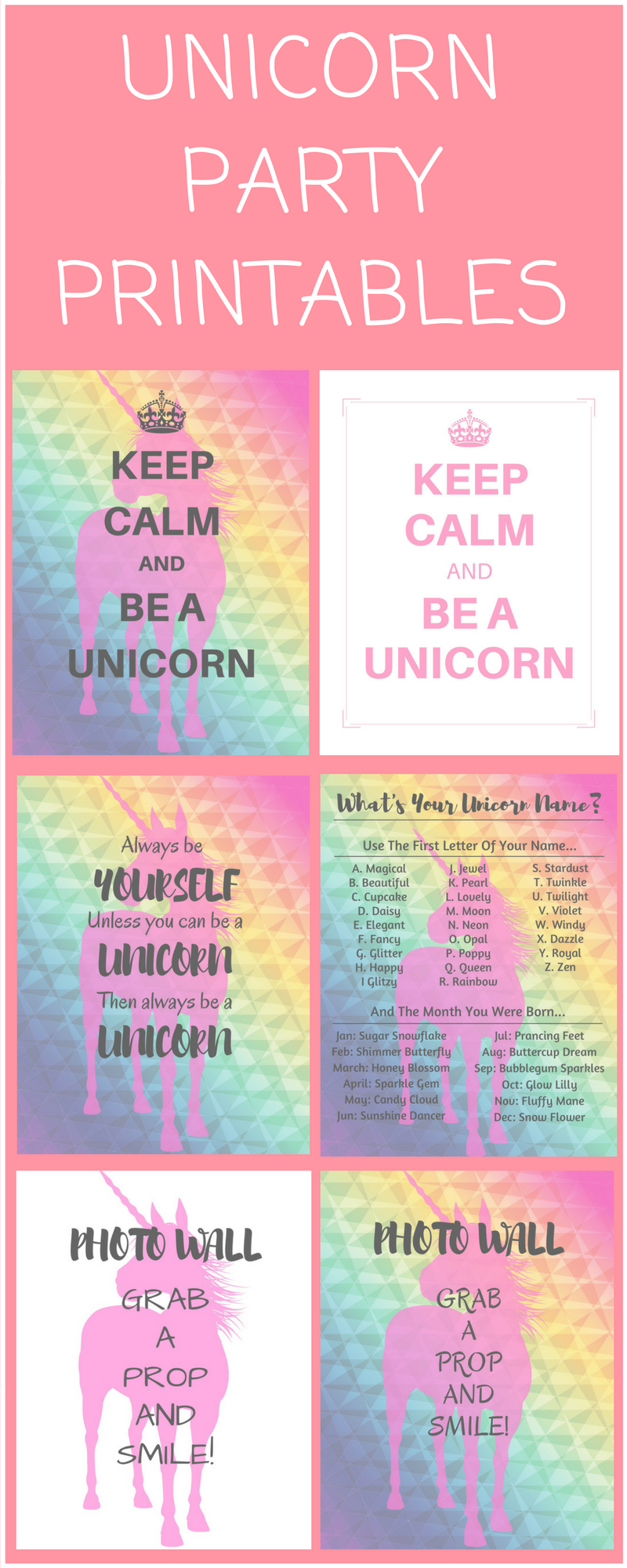 photo about Free Unicorn Name Printable titled Unicorn Birthday Get together Printables - Big Offer